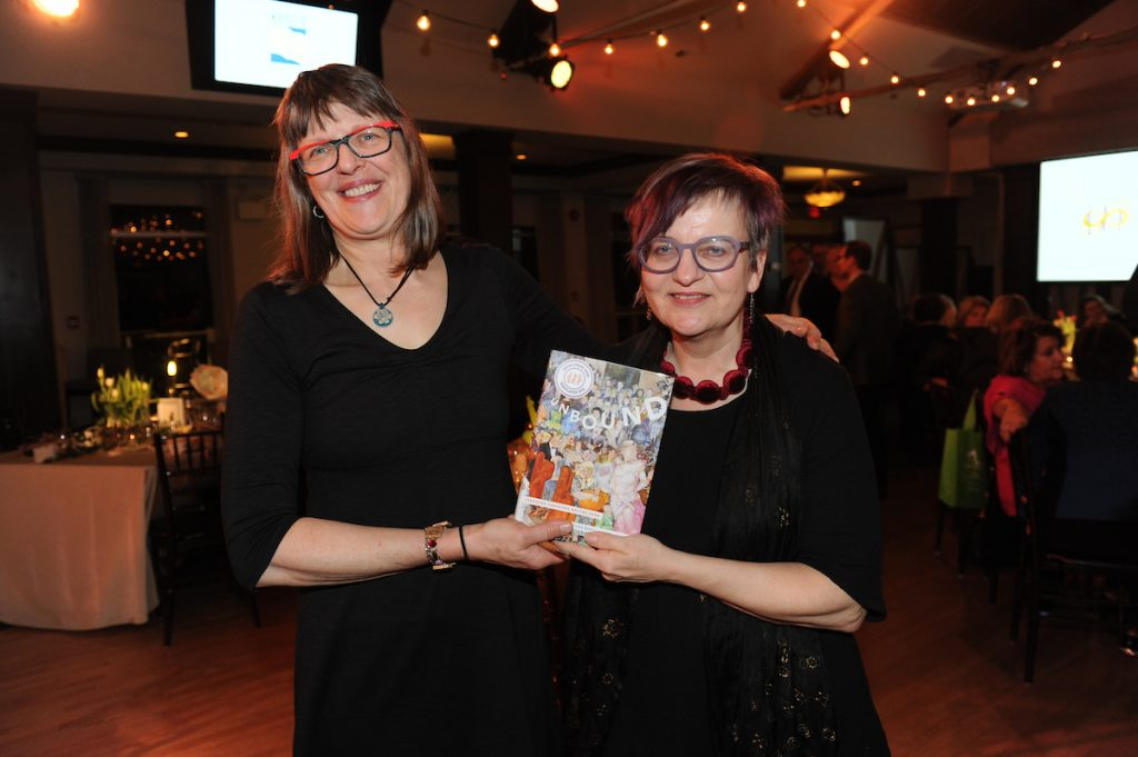 Unbound contributors Erin Moure and Marusya Bociurkiw accept the 2018 Kobzar Literary Award